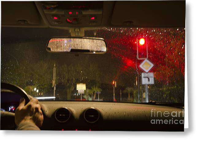 Rearview Greeting Cards - Driving a car at night Greeting Card by Mats Silvan