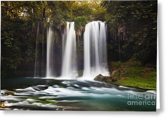 Mediterranean Landscape Pastels Greeting Cards - Duden Waterfalls Greeting Card by Andre Goncalves