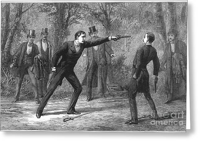 1874 Greeting Cards - Duel, 1874 Greeting Card by Granger