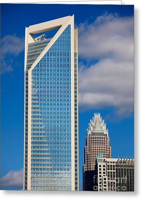 Downtown Charlotte Nc Greeting Cards - Duke Energy Tower Greeting Card by Patrick Schneider