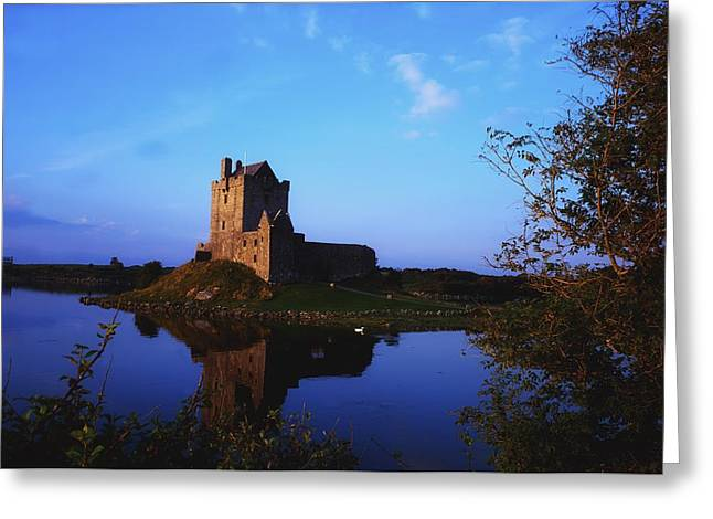 Reflections Of Sky In Water Greeting Cards - Dunguaire Castle, Co Galway, Ireland Greeting Card by The Irish Image Collection