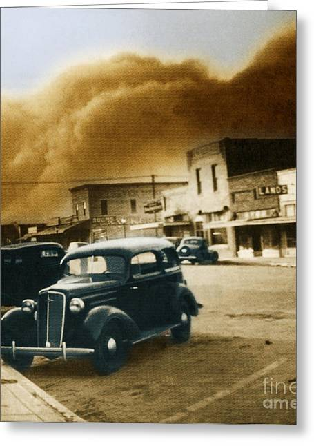 Color Enhanced Greeting Cards - Dust Bowl Of The 1930s Elkhart Kansas Greeting Card by Science Source