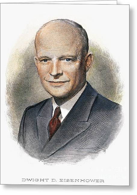 1950s Portraits Photographs Greeting Cards - Dwight D. Eisenhower Greeting Card by Granger