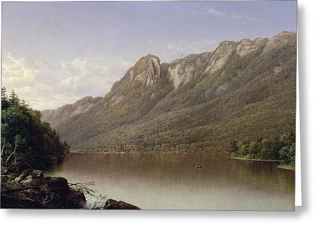 Rural Schools Paintings Greeting Cards - Eagle Cliff at Franconia Notch in New Hampshire Greeting Card by David Johnson