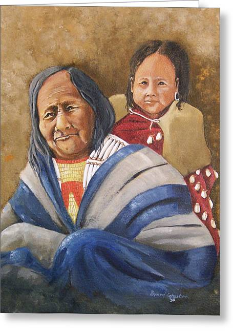 Eagle Feather And Child Greeting Card by Raymond Schuster