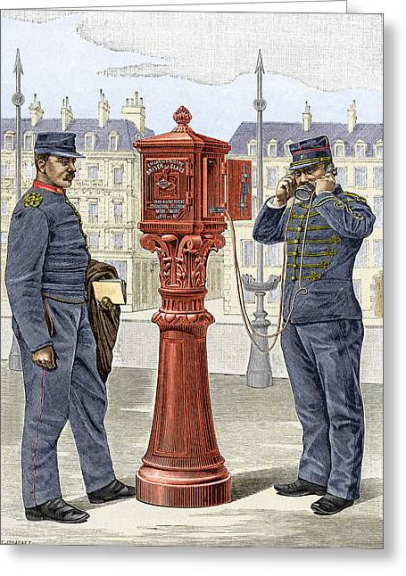 Call Box Greeting Cards - Early Fire Brigade Street Alarm Greeting Card by Sheila Terry