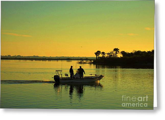 Two Fishing Men Greeting Cards - Early in the Morning Greeting Card by Susanne Van Hulst