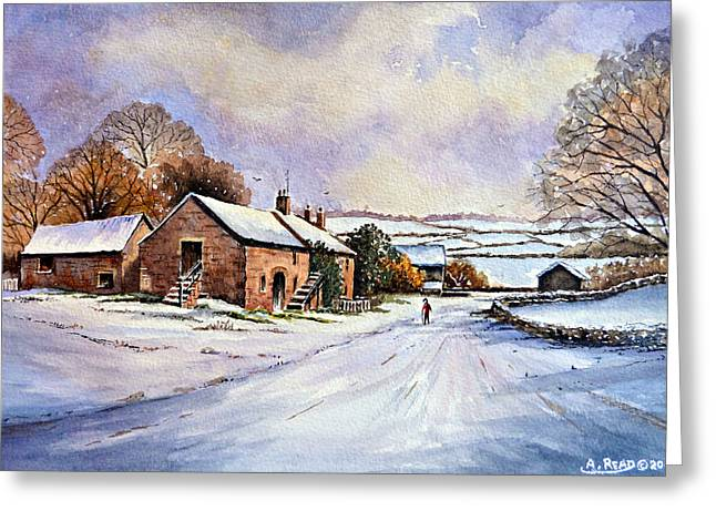 Water Color Artist Greeting Cards - Early Morning Snow Greeting Card by Andrew Read