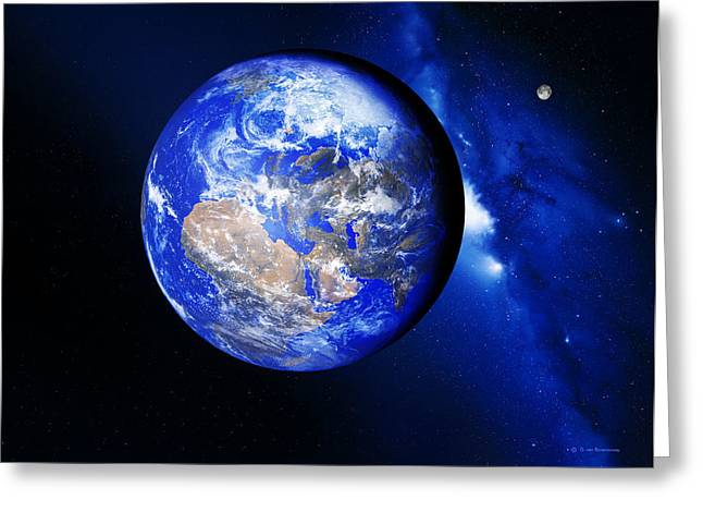 Way Home Greeting Cards - Earth And Moon Greeting Card by Detlev Van Ravenswaay