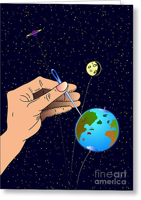 Ironic Greeting Cards - Earth like an inflatable balloon Greeting Card by Michal Boubin