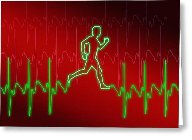 Jogging Greeting Cards - Ecg And Man Running Greeting Card by Pasieka