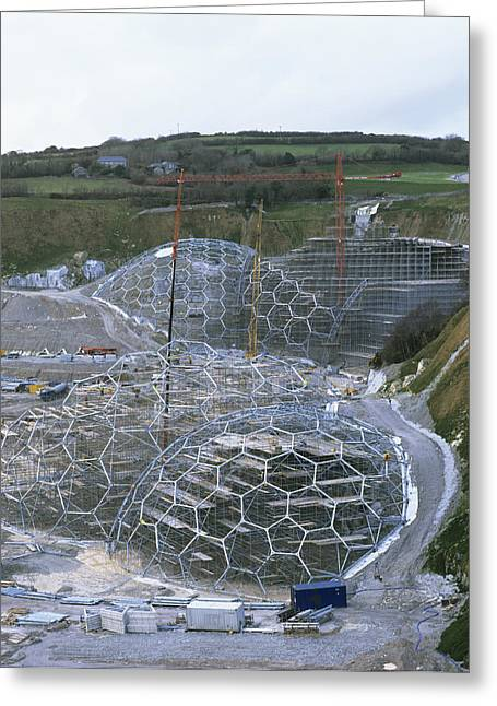 Geodesic Dome Greeting Cards - Eden Project Construction Greeting Card by Carlos Dominguez
