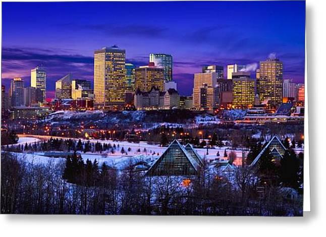 Snow Scene Landscape Greeting Cards - Edmonton Winter Skyline Greeting Card by Corey Hochachka