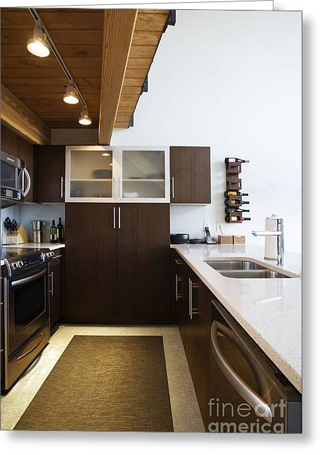 Efficiency Greeting Cards - Efficiency Apartment Kitchen Greeting Card by Ben Sandall