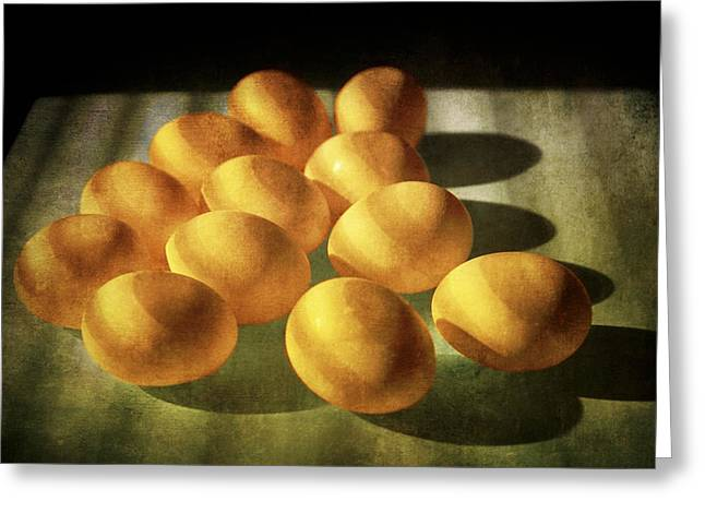 Dozen Greeting Cards - Eggs lit through Venetian Blinds Greeting Card by Randall Nyhof