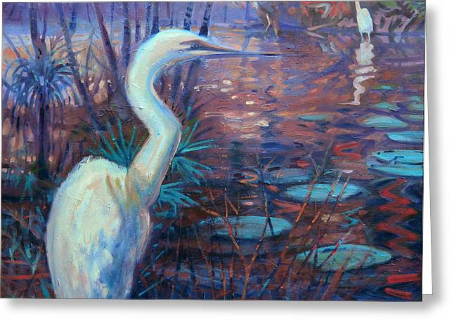 Recently Sold -  - Water Fowl Greeting Cards - Egrets Greeting Card by Donald Maier