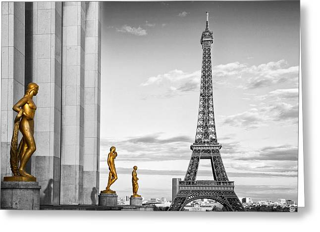 Historic Statue Digital Art Greeting Cards - Eiffel Tower PARIS Trocadero Greeting Card by Melanie Viola