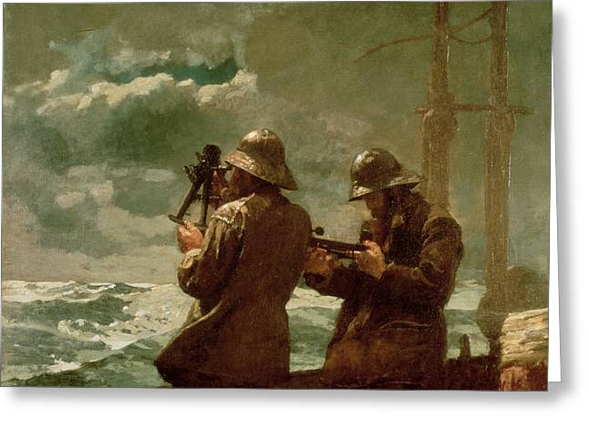 Instruments Greeting Cards - Eight Bells Greeting Card by Winslow Homer