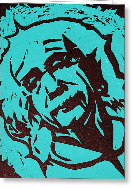 Linocut Greeting Cards - Einstein 2 Greeting Card by William Cauthern