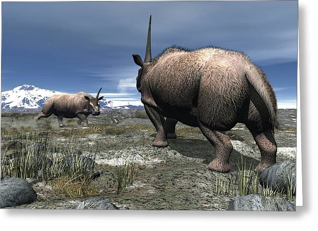 Confronting Greeting Cards - Elasmotherium, Artwork Greeting Card by Walter Myers
