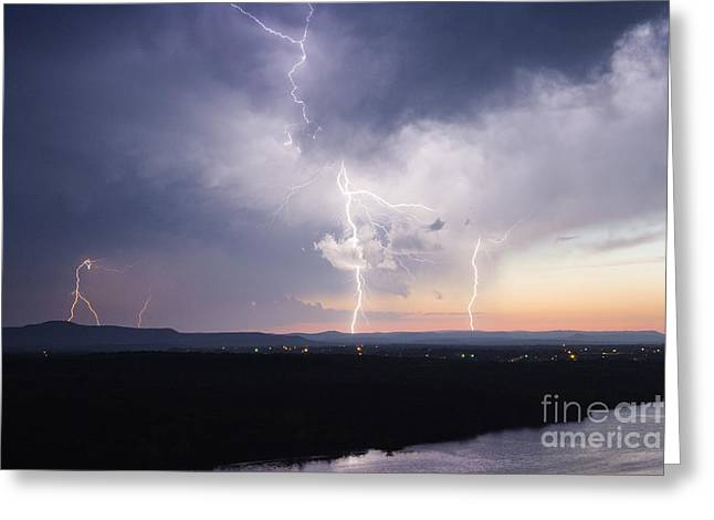 Lightning Strike Greeting Cards - Electrical Storm at Dusk Greeting Card by Jeremy Woodhouse