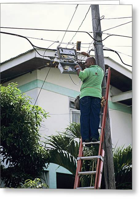 Electricity Maintenance Greeting Card by David Nunuk