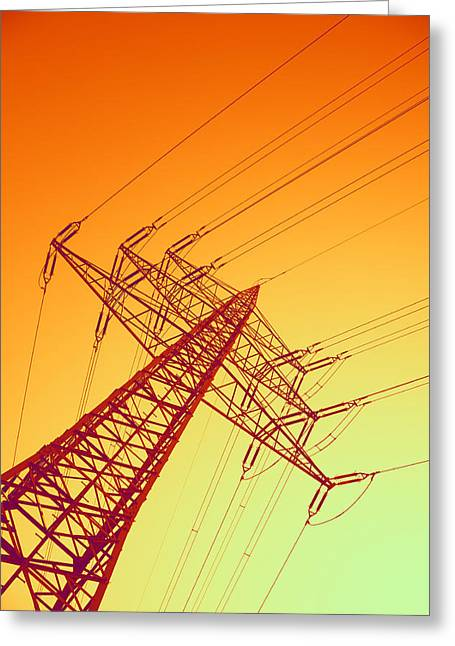 Electric Pylon Greeting Cards - Electricity Power Lines Greeting Card by Pasieka