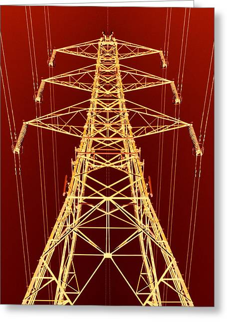 Electric Pylon Greeting Cards - Electricity Pylon Greeting Card by Kevin Curtis