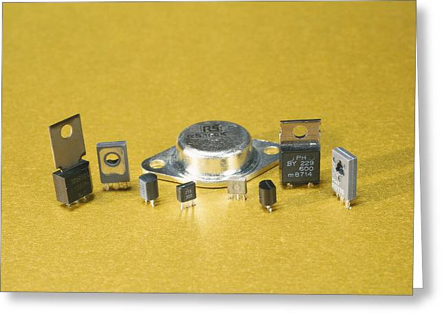 Electronic Circuit Board Components Greeting Card by Andrew Lambert Photography