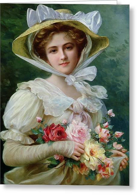 Roses In Bud Greeting Cards - Elegant lady with a bouquet of roses Greeting Card by Emile Vernon