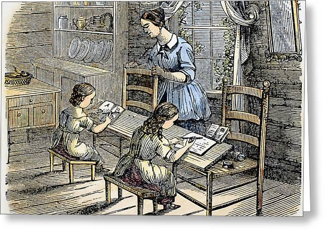Schoolmistress Greeting Cards - ELEMENTARY SCHOOL, c1840 Greeting Card by Granger