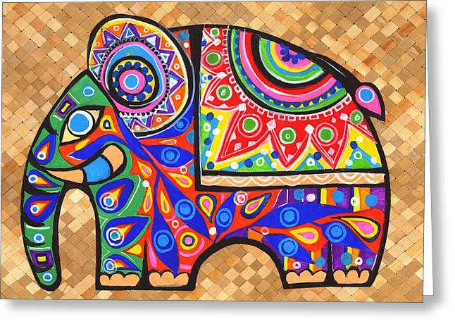 Child Tapestries - Textiles Greeting Cards - Elephant Greeting Card by Samadhi Rajakarunanayake