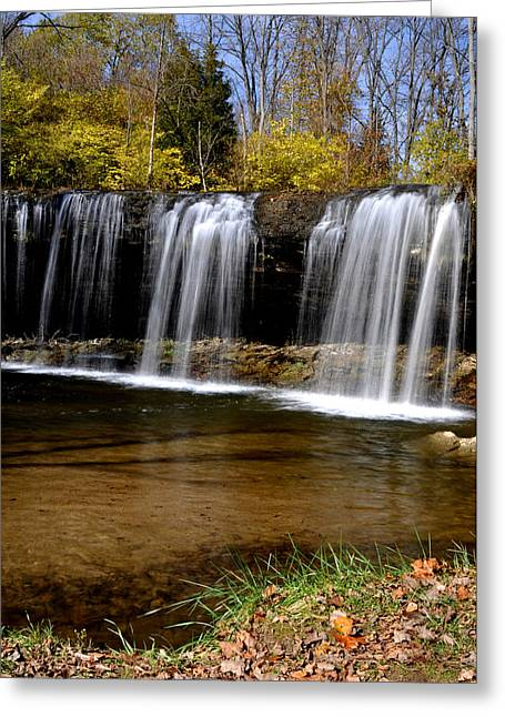 Indiana Autumn Greeting Cards - Elkhorn Falls Wayne County Indiana Greeting Card by Marsha Williamson Mohr