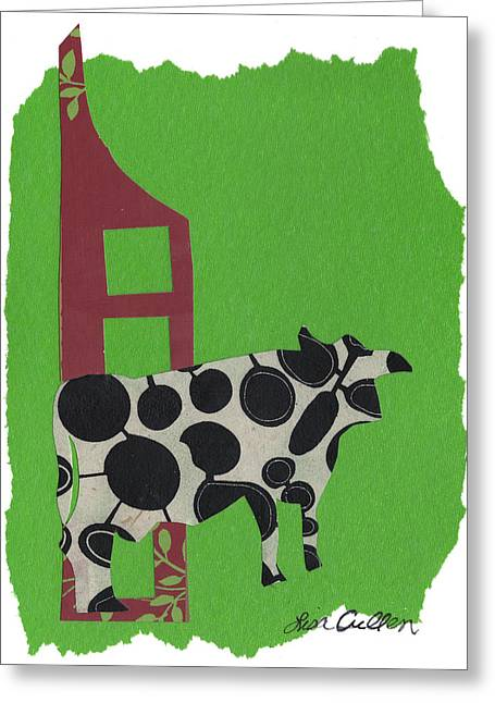 Pastoral Mixed Media Greeting Cards - Elsie on Green Greeting Card by Lisa Cullen