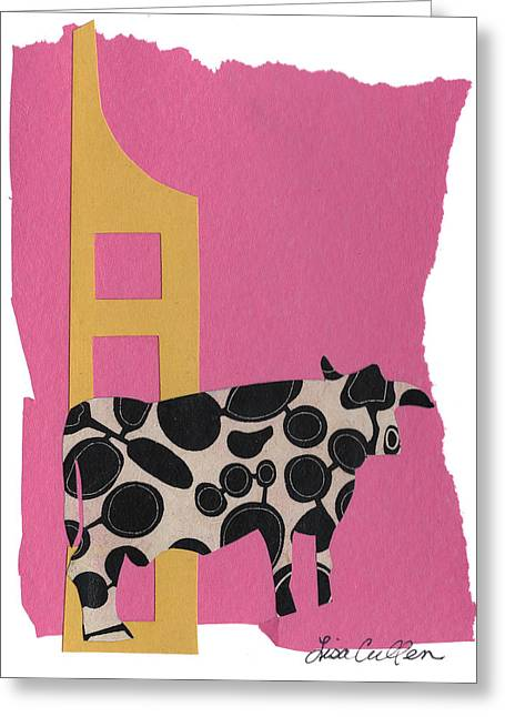 Pastoral Mixed Media Greeting Cards - Elsie on Pink Greeting Card by Lisa Cullen