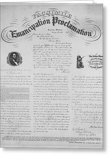 Slavery Greeting Cards - Emancipation Proclamation Greeting Card by Photo Researchers