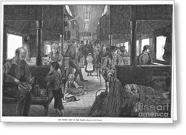 Rufus Greeting Cards - Emigrant Coach Car, 1886 Greeting Card by Granger