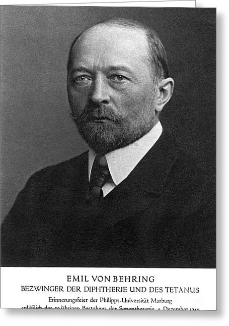 Nobel Recipient Greeting Cards - Emil Von Behring, German Immunologist Greeting Card by Science Source