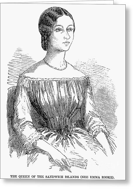 Queen Consort Greeting Cards - Emma Of Hawaii (1836-1885) Greeting Card by Granger