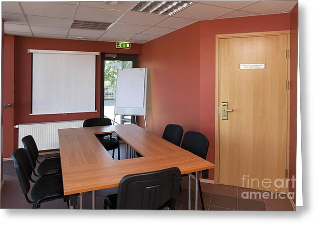 """""""meeting Room"""" Greeting Cards - Empty Conference Room Greeting Card by Jaak Nilson"""
