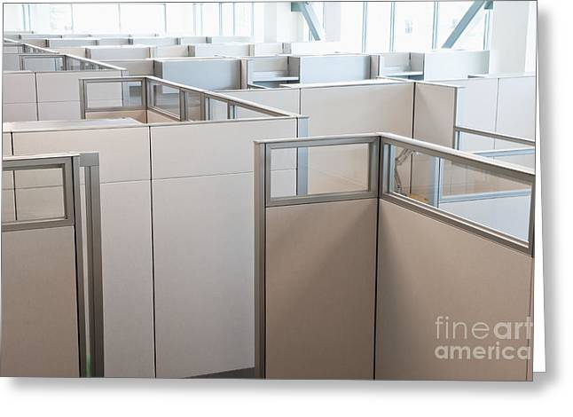 Florescent Lighting Greeting Cards - Empty Office Cubicles Greeting Card by Jetta Productions, Inc