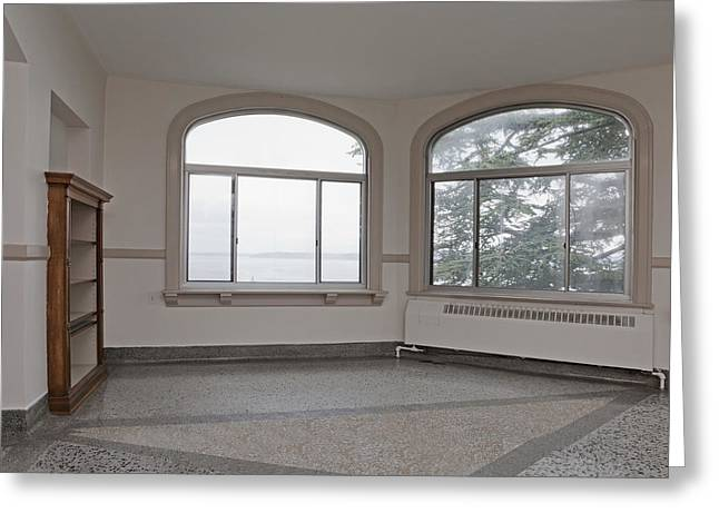 Residential Structure Greeting Cards - Empty Room In Turret With Windows Greeting Card by Douglas Orton