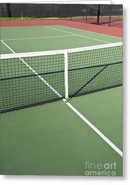 Boundaries Greeting Cards - Empty Tennis Court Greeting Card by Thom Gourley/Flatbread Images, LLC