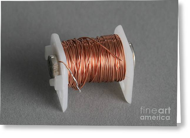Electrical Wiring Greeting Cards - Enamel Coated Copper Wire Greeting Card by Photo Researchers