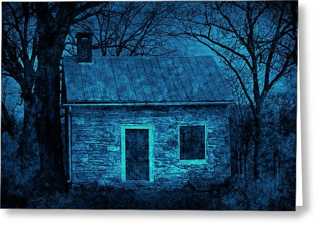 Tin Roof Greeting Cards - Enchanted Moonlight Cottage Greeting Card by John Stephens