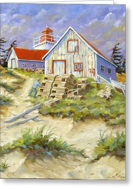 Seacape Paintings Greeting Cards - End of lobster season Greeting Card by Richard T Pranke