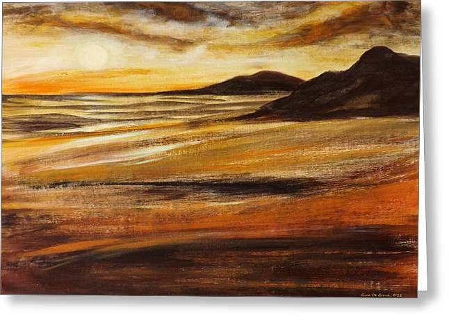 Sunset Posters Greeting Cards - End of the Day - Panoramic Sunset Greeting Card by Gina De Gorna