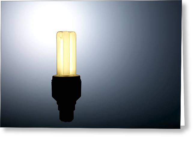 Energy Efficient Greeting Cards - Energy-saving Light Bulb Greeting Card by Tek Image