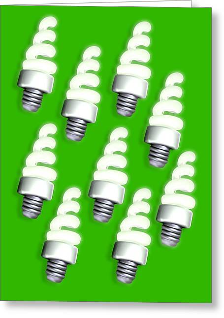 Energy Efficient Greeting Cards - Energy-saving Light Bulbs, Artwork Greeting Card by Victor Habbick Visions