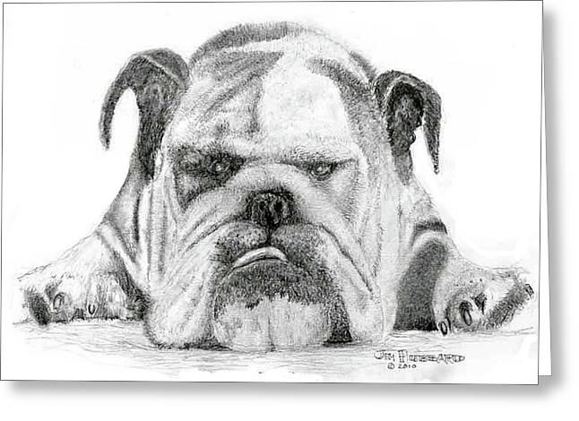 Pencil Drawings Of Pets Greeting Cards - English Bulldog Greeting Card by Jim Hubbard